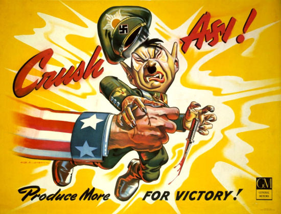 GM General Motors Crush Axi Produce For Victory | Vintage War Propaganda Posters 1891-1970
