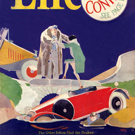 Garrett Price Life Magazine The Brakes 1927-02-17 Copyright crop | Best of 1920s Ad and Cover Art