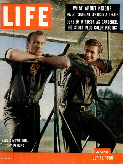 Gary Cooper and Tony Perkins 16 Jul 1956 Copyright Life Magazine   Life Magazine Color Photo Covers 1937-1970