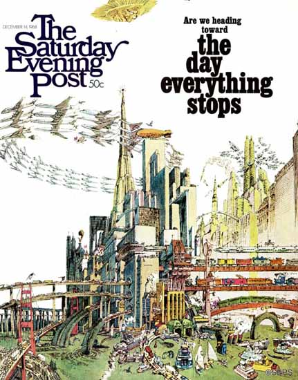 Gene Holton Saturday Evening Post Day Everything Stops 1968_12_14 | The Saturday Evening Post Graphic Art Covers 1931-1969