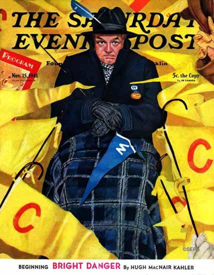 Gene Pelham Saturday Evening Post Sitting on Wrong Side 1941_11_15 | The Saturday Evening Post Graphic Art Covers 1931-1969