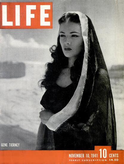 Gene Tierney 10 Nov 1941 Copyright Life Magazine | Life Magazine BW Photo Covers 1936-1970