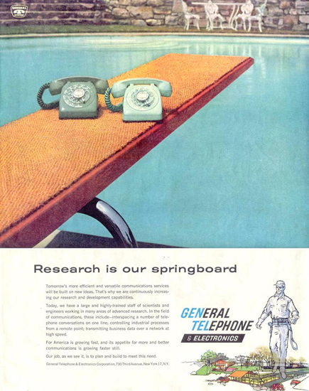 Geneal Telephone Research Springboard 1959 | Vintage Ad and Cover Art 1891-1970