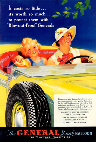 General Dual Balloon Tire 1935 | Vintage Ad and Cover Art 1891-1970