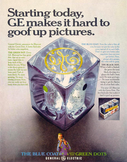 General Electric Dots Flashcube 1968 | Vintage Ad and Cover Art 1891-1970