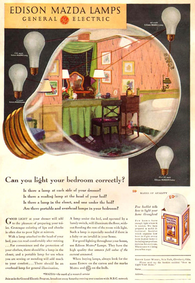 General Electric Edison Mazda Lamps 1931   Vintage Ad and Cover Art 1891-1970