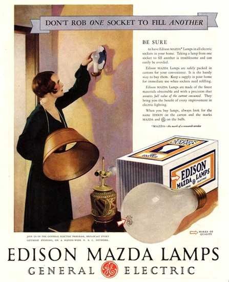 General Electric Edison Mazda Lamps | Vintage Ad and Cover Art 1891-1970