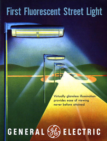 General Electric First Fluorescent Street Light | Vintage Ad and Cover Art 1891-1970