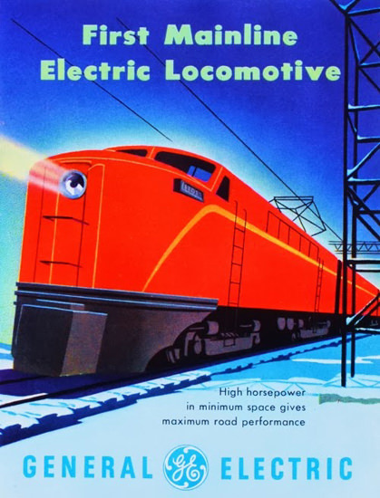 General Electric First Mainline Electic Motive 1953 | Vintage Ad and Cover Art 1891-1970