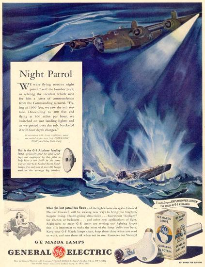 General Electric Mazda Lamps Night Patrol 1944 | Vintage War Propaganda Posters 1891-1970