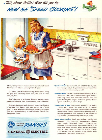 General Electric Ranges Speed Cooking 1945 | Vintage Ad and Cover Art 1891-1970