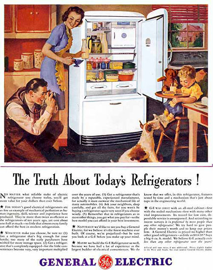 General Electric Refrigerators Family Photo | Vintage Ad and Cover Art 1891-1970