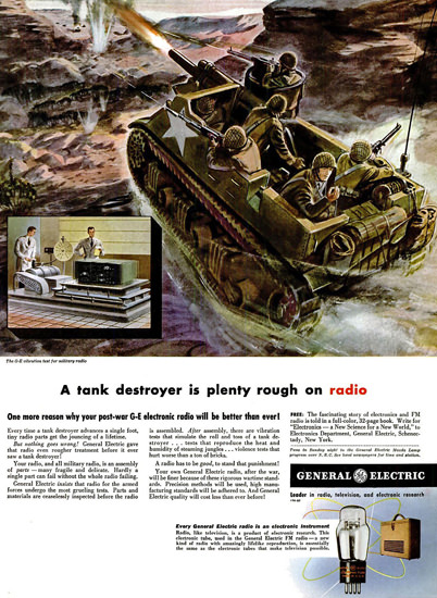 General Electric Tank Destroyer On Radio | Vintage War Propaganda Posters 1891-1970