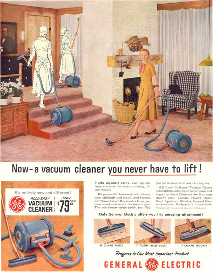 General Electric Vacuum Cleaner 1955 | Vintage Ad and Cover Art 1891-1970