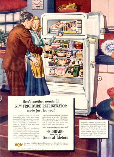 General Motors Frigidaire Refrigerator 1948 | Sex Appeal Vintage Ads and Covers 1891-1970