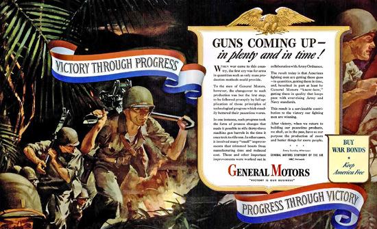 General Motors Guns Coming Up | Vintage War Propaganda Posters 1891-1970