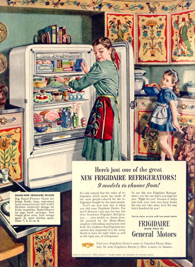 General Motors Refrigerator Fridge 1948 | Vintage Ad and Cover Art 1891-1970