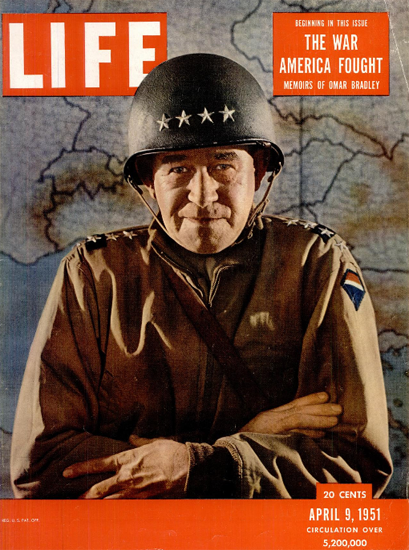 General Omar Nelson Bradley 9 Apr 1951 Copyright Life Magazine | Life Magazine Color Photo Covers 1937-1970
