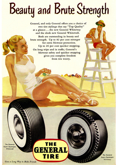 General Tire Beach Beauty Brute Strength 1952 | Sex Appeal Vintage Ads and Covers 1891-1970