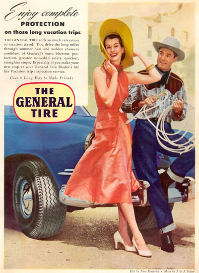 General Tire Compelete Protection On Trips 1951 | Sex Appeal Vintage Ads and Covers 1891-1970