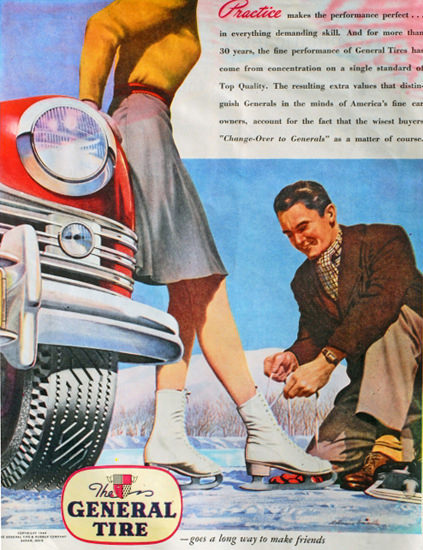 General Tire Practice Makes Friends 1940s | Sex Appeal Vintage Ads and Covers 1891-1970