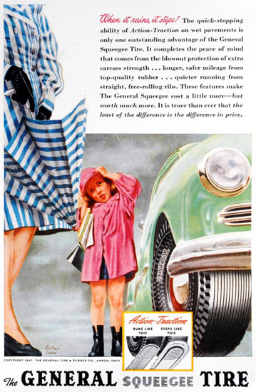 General Tire When It Rains It Stops 1947 | Vintage Ad and Cover Art 1891-1970