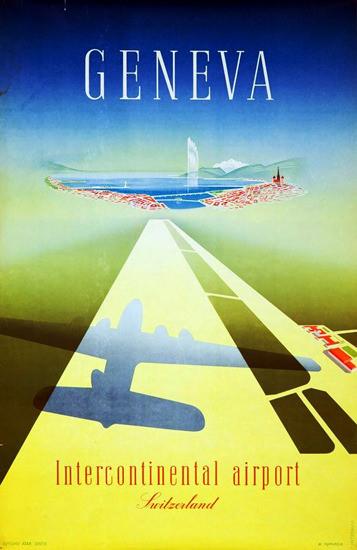 Geneva Intercontinental Airport Switzerland 1949 | Vintage Travel Posters 1891-1970