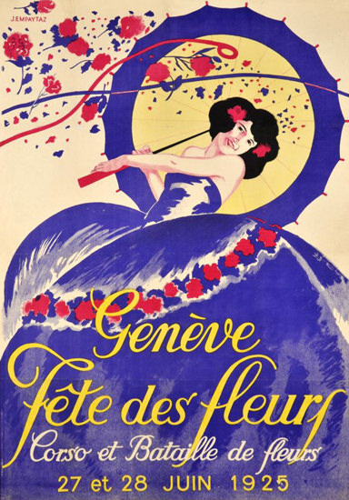 Geneve Fete Des Fleurs Corso Switzerland 1925 | Vintage Ad and Cover Art 1891-1970