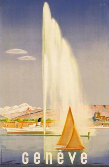 Geneve Fountain Lake 1937 | Vintage Travel Posters 1891-1970