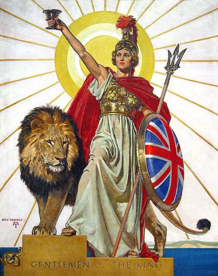 Gentlemen The King Lion And Warrior | Vintage War Propaganda Posters 1891-1970