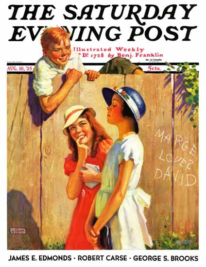 George Brehm Saturday Evening Post Marge loves David 1935_08_10 | The Saturday Evening Post Graphic Art Covers 1931-1969