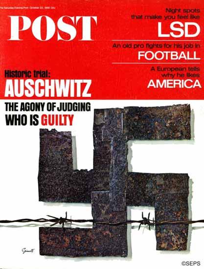 George Giusti Saturday Evening Post Auschwitz 1966_10_22 | The Saturday Evening Post Graphic Art Covers 1931-1969
