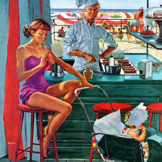 George Hughes Saturday Evening Post Beach 1954_08_28 Copyright crop | Best of Vintage Cover Art 1900-1970