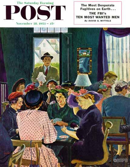 George Hughes Saturday Evening Post Bridge Party 1953_11_28 | The Saturday Evening Post Graphic Art Covers 1931-1969