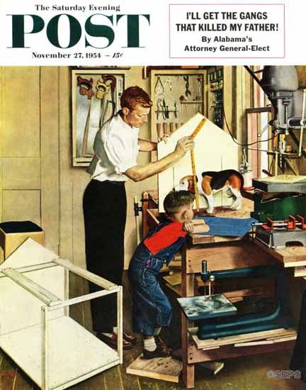 George Hughes Saturday Evening Post Building a Doghouse 1954_11_27 | The Saturday Evening Post Graphic Art Covers 1931-1969