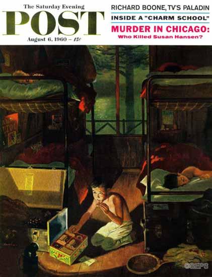 George Hughes Saturday Evening Post Care Package at Camp 1960_08_06 | The Saturday Evening Post Graphic Art Covers 1931-1969