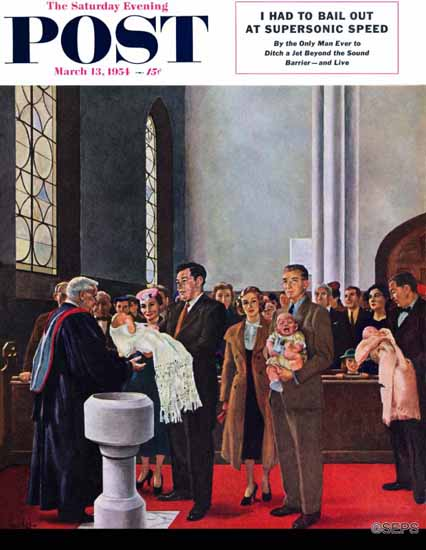 George Hughes Saturday Evening Post Christening or Baptism 1954_03_13 | The Saturday Evening Post Graphic Art Covers 1931-1969