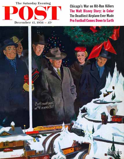 George Hughes Saturday Evening Post Christmas Train Set 1956_12_15   The Saturday Evening Post Graphic Art Covers 1931-1969