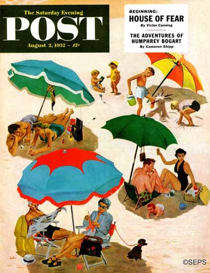 George Hughes Saturday Evening Post Couples at the Beach 1952_08_02 | The Saturday Evening Post Graphic Art Covers 1931-1969
