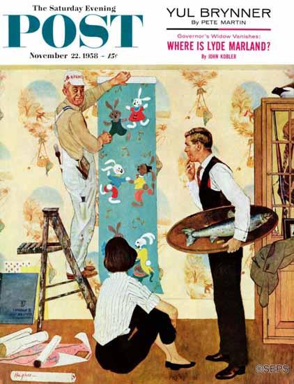 George Hughes Saturday Evening Post Den Into Nursery 1958_11_22 | The Saturday Evening Post Graphic Art Covers 1931-1969