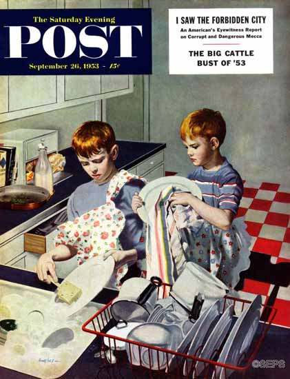 George Hughes Saturday Evening Post Dinner Dishes 1953_09_26 | The Saturday Evening Post Graphic Art Covers 1931-1969