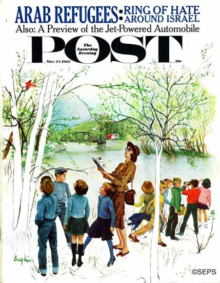 George Hughes Saturday Evening Post Distracted Hikers 1962_03_24   The Saturday Evening Post Graphic Art Covers 1931-1969