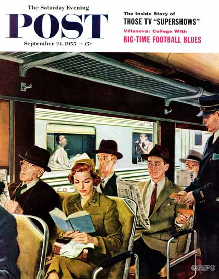 George Hughes Saturday Evening Post Does Not Commute 1955_09_24 | The Saturday Evening Post Graphic Art Covers 1931-1969