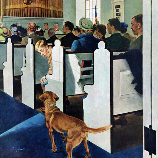 George Hughes Saturday Evening Post Dog 1956_03_24 Copyright crop | Best of Vintage Cover Art 1900-1970
