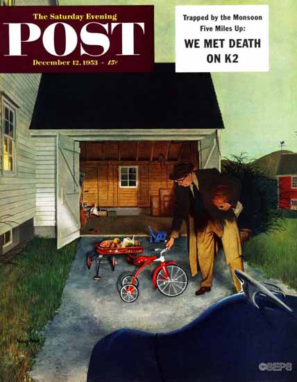 George Hughes Saturday Evening Post Dont Block Driveway 1953_12_12 | The Saturday Evening Post Graphic Art Covers 1931-1969
