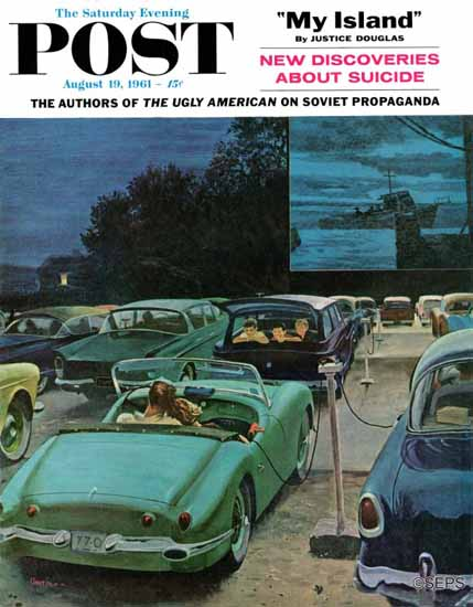 George Hughes Saturday Evening Post Drive-In Movies 1961_08_19 | The Saturday Evening Post Graphic Art Covers 1931-1969
