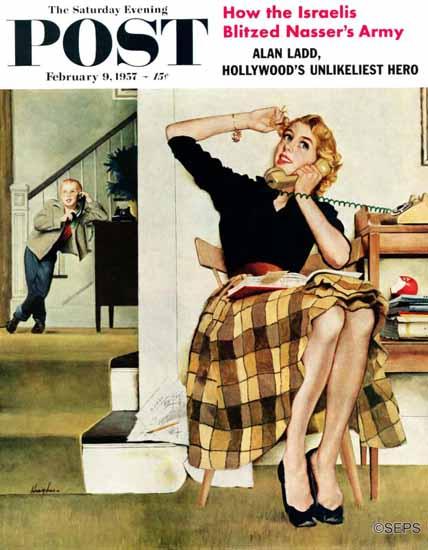 George Hughes Saturday Evening Post Eavesdropping Sister 1957_02_09 | The Saturday Evening Post Graphic Art Covers 1931-1969