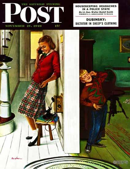 George Hughes Saturday Evening Post Eavesdropping on Sis 1949_11_19   The Saturday Evening Post Graphic Art Covers 1931-1969