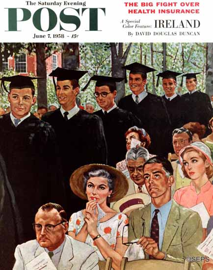 George Hughes Saturday Evening Post Entrance of Graduates 1958_06_07 | The Saturday Evening Post Graphic Art Covers 1931-1969