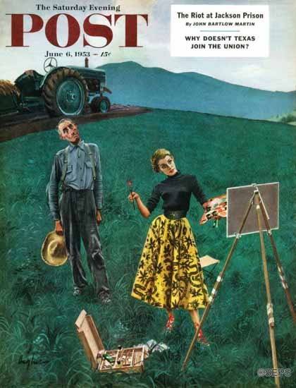 George Hughes Saturday Evening Post Farmer N Artist in Field 1953_06_06 | The Saturday Evening Post Graphic Art Covers 1931-1969